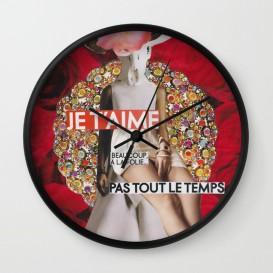 """Horloge murale - """"Je t'aime, beaucoup, à la folie... Pas tout le temps"""""""